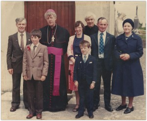 Fr. Roger with family and Bishop Laurence Forrestal of Ossory on Conformation Day